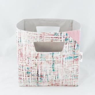 Корзина из ткани, интерьерная корзина с линиями. Декор в детскую. Корзина для игрушек.