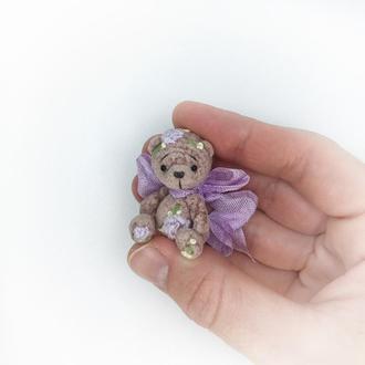 Миниатюрный плюшевый мишка с вышивкой игрушка