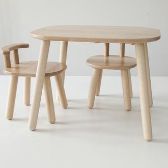 Комплект стол и 2 стула детских 4-7 лет, натуральный бук