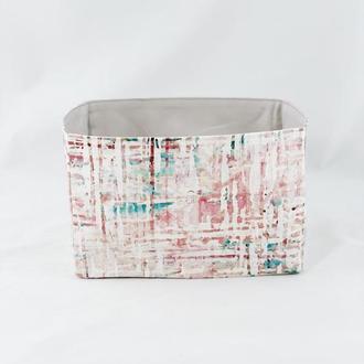 Готовое изделие Корзина из ткани, интерьерная корзина с линиями. Декор в детскую. Корзина для игруш