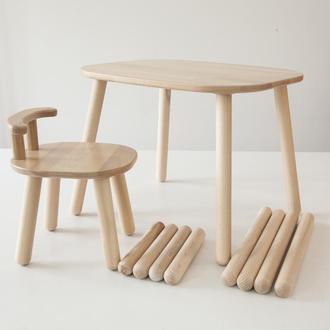 Комплект стол и стул детский 2-4 года с дополнительными ножками, натуральный бук