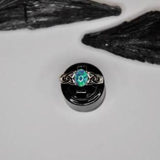 Серебряное кольцо с огненным опалом Трикветр