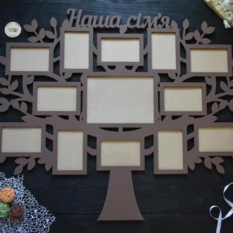 """Семейная фоторамка - коллаж """"Наша семья"""", в виде дерева"""