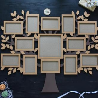Семейная фоторамка - коллаж, в виде дерева