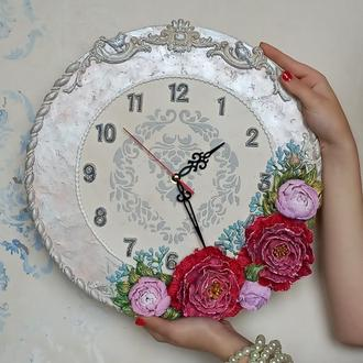 """Шикарные часы """"пионы"""" на стену, кварцевые, бесшумный механизм"""