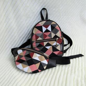Черный принтовый набор 2в1 (рюкзак + бананка) handmade