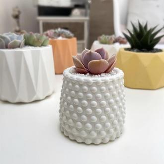 """Белое бетонное кашпо """"Bubbles"""" для растений, суккулентов, кактусов, мха."""
