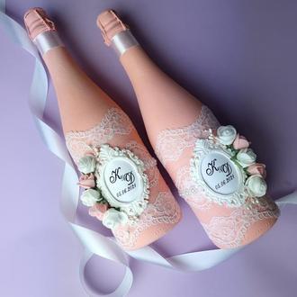 Свадебные бутылки, декор шампанского