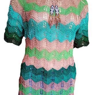 Полосатая блузка с короткими рукавами в стиле Missoni 100% хлопок+бижутерия