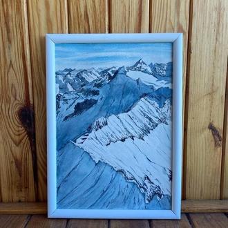 Картина - Заснеженные горы