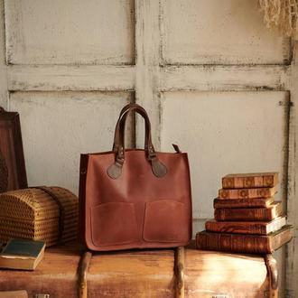 Велика сумка-тоут Шопер з шкіри з косметичкою