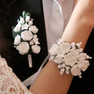 """Белый свадебный комплект украшений ручной работы """"Белые пионы"""""""