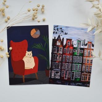 Открытки Кот и Амстердам