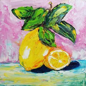"""Картина маслом """"Лимон на розовом фоне"""""""