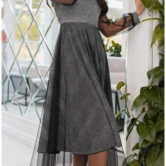 Платье вечернее NOBILITAS 42 - 48 черное трикотаж с люрексом и сеточка (арт. 19075)