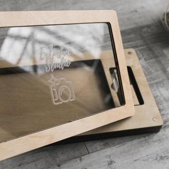 Деревянная коробочка для фотографий 10х15 см с прозрачной крышкой