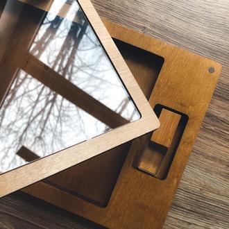 Прозрачная деревянная коробочка для фотографий 10х15 см