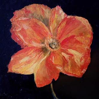 Картина маслом большой красный цветок, интерьерная картина