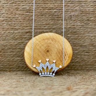 Кулон серебряный подвеска из серебра Корона на цепочки ручной работы с позолоченными вставками
