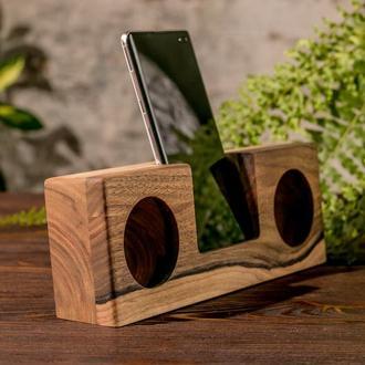 Органайзер настільний Холдер Колонка Підсилювач Звуку З Дерева Для Смартфона Телефону Гаджета iPhone