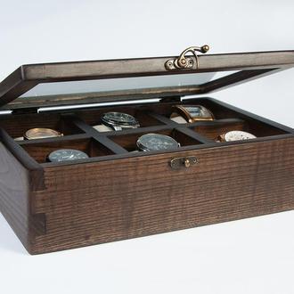 Деревянная шкатулка «Domik.shop на 6 отделений» для хранения наручных часов