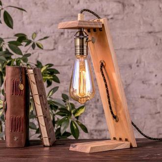 Деревянная Ретро Лампа На Стол, Прикроватный Loft Светильник Из Дерева Для Дома, Настольный Торшер