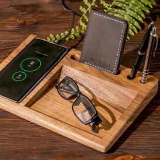 Беспроводное Зарядное Устройство Qi Charger Для iPhone Samsung - Отличный Дорогой Подарок Из Дерева