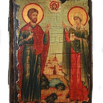 Икона под старину Адриан и Наталья