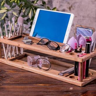Органайзер для Косметики Подарок для Девушки Жены Мамы Дочки Сестры Дочери из Дерева iPad iPhone