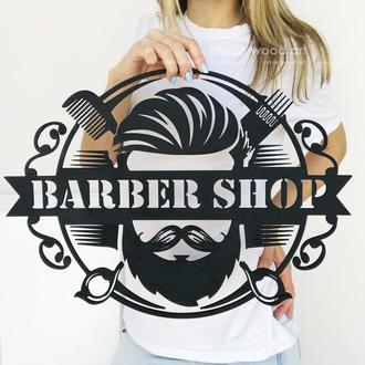 """Деревянная картина-панно """"Barbershop 003"""""""