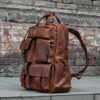 Рюкзак в винтажном стиле, Кожаный мужской рюкзак