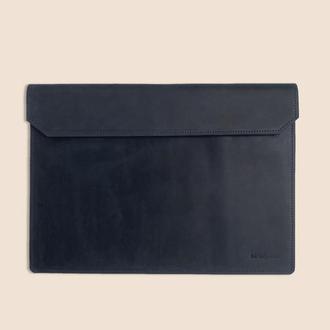 Кожаный чехол для ноутбука MacBook синего цвета