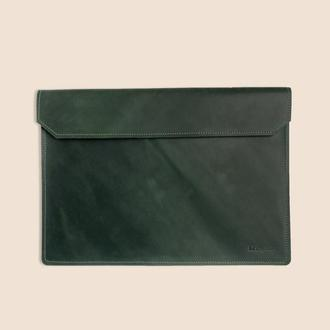 Кожаный чехол для ноутбука MacBook зеленого цвета