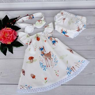 """Летний комплект для девочки """"Олени"""": платье, повязка и трусики 62,68,74,80,92"""