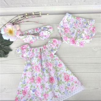 """Летний комплект для девочки """"Розовые цветы"""": платье, повязка и трусики 62,68,74,80,92"""