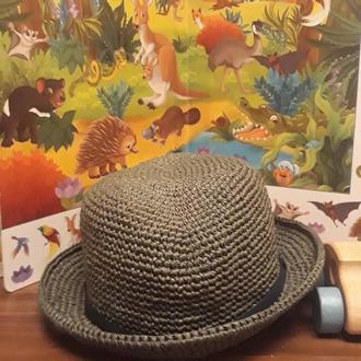 шляпа федора из рафии