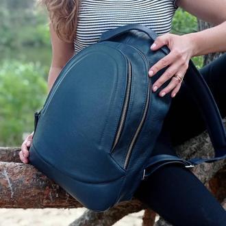 Стильный кожаный рюкзак/ синий рюкзак/ выбор цветов