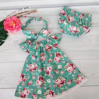 """Летний комплект для девочки """"Букеты на зеленом"""" :платье, трусики и повязка Солоха 62,68,74,80,86,92"""