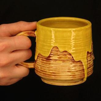 Желтая чашка с потеками Банановий джем