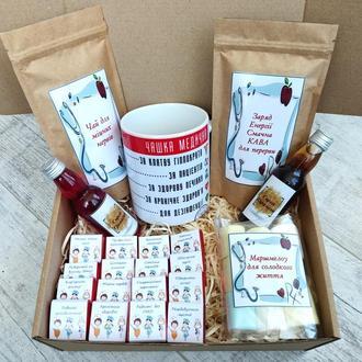 Подарочный набор с кофе, чаем,сладостями для медицинских работников.Подарки медикам
