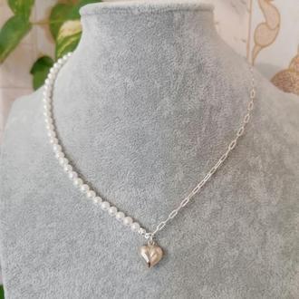 Красиве стильне срібне намисто чокер кольє з перлами з підвіскою серцем