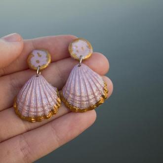 Морские летние серьги ракушки розового цвета, стильные серьги-гвоздики