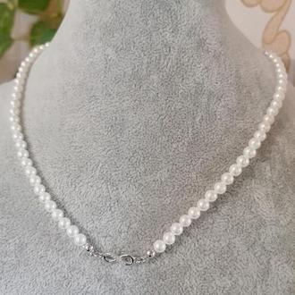 Красивое стильное серебряное ожерелье чокер колье с жемчугом тренд