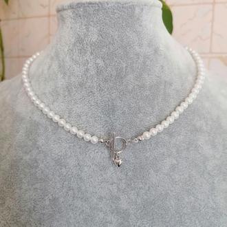 Чокер из жемчуга и серебра колье красивое серебряное ожерелье тренд идея подарка