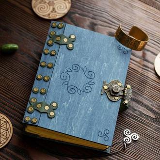 Блокнот синий в деревянной обложке, блокнот женский на подарок к годовщине, необычный блокнот