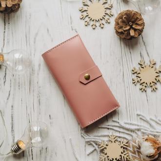 Розовый женский кожаный кошелек на 6 отделов