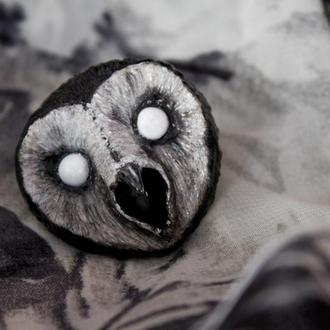 Брошь темная Сипуха, брошка с совой, подарок на хеллоуин, готическая брошь
