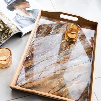 Поднос деревянный из эпоксидной смолы Шоколад
