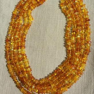 Многорядное янтарное колье, бусы в 5 рядов натуральный янтарь