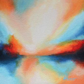 Абстрактный пейзаж, пост импрессионизм, яркая картина 20х20